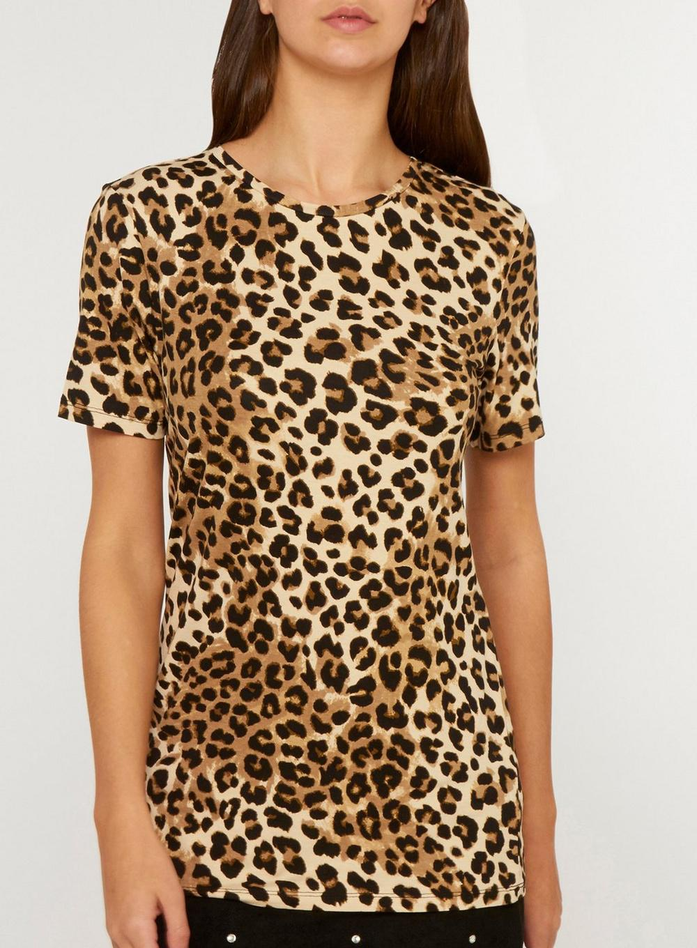 c9740ff80beb Dorothy Perkins Tall Brown Leopard Print T-shirt in Brown - Lyst