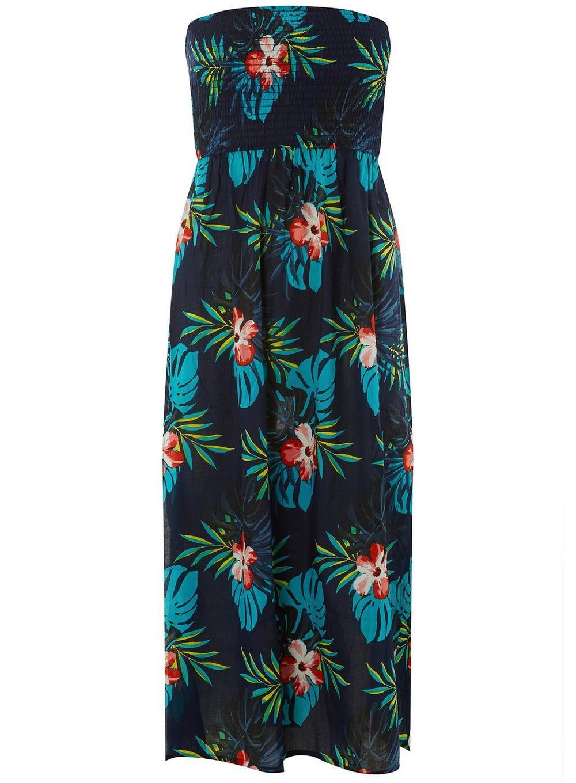 bf926ef4ca Dorothy Perkins. Women's Blue Dp Beach Navy Floral Print Shirred Midi Dress