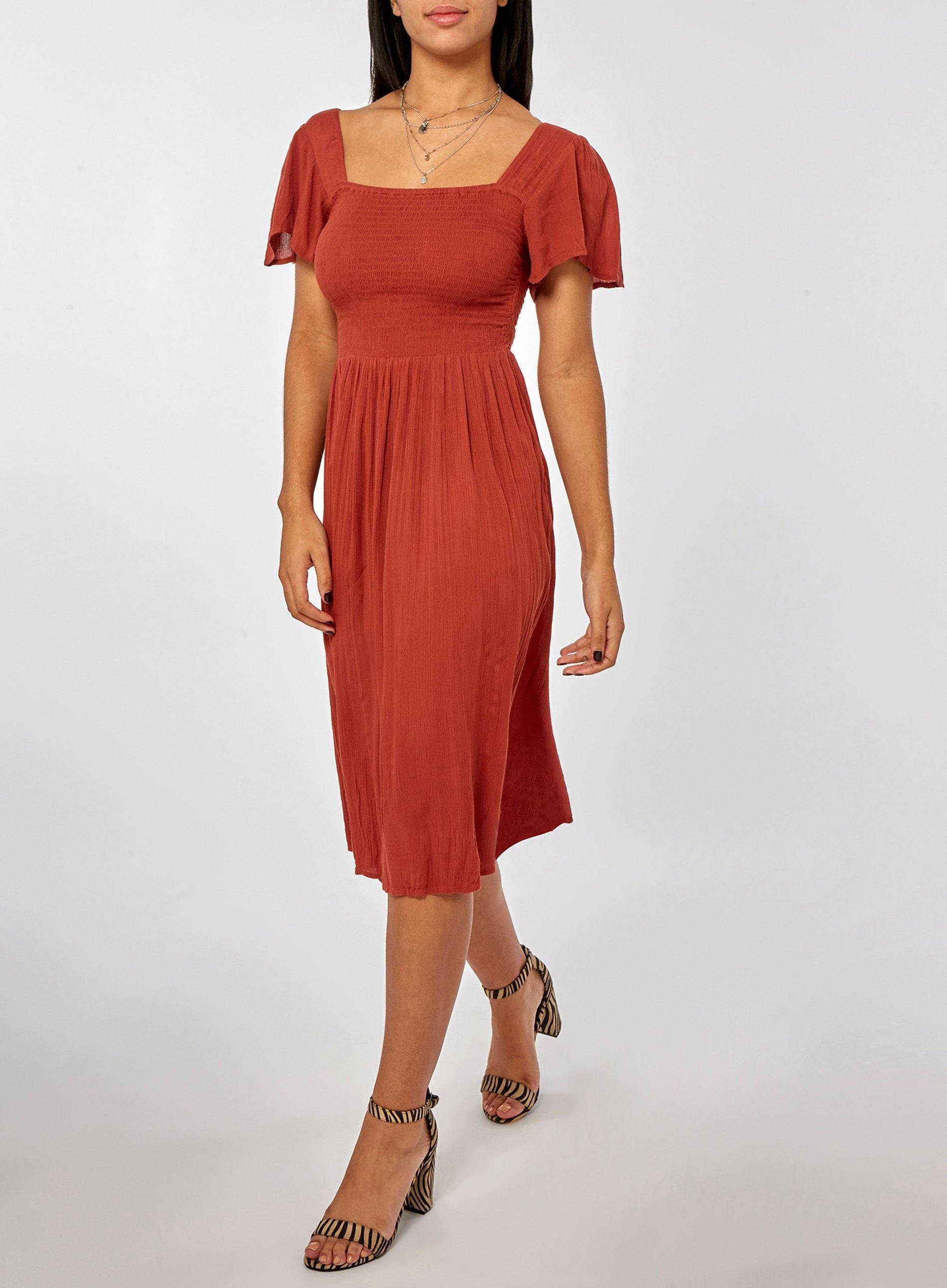 344647e31ba Dorothy Perkins - Red Rust Flutter Sleeve Skater Dress - Lyst. View  fullscreen