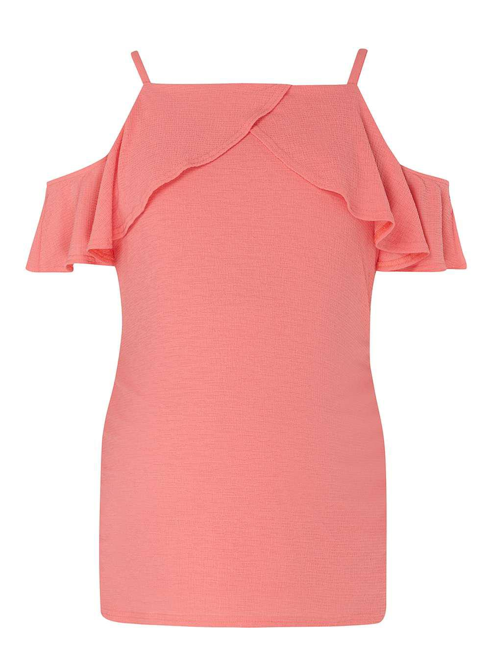dc9358ae1e4394 Lyst - Dorothy Perkins Maternity Coral Ruffle Tie Cold Shoulder Top ...