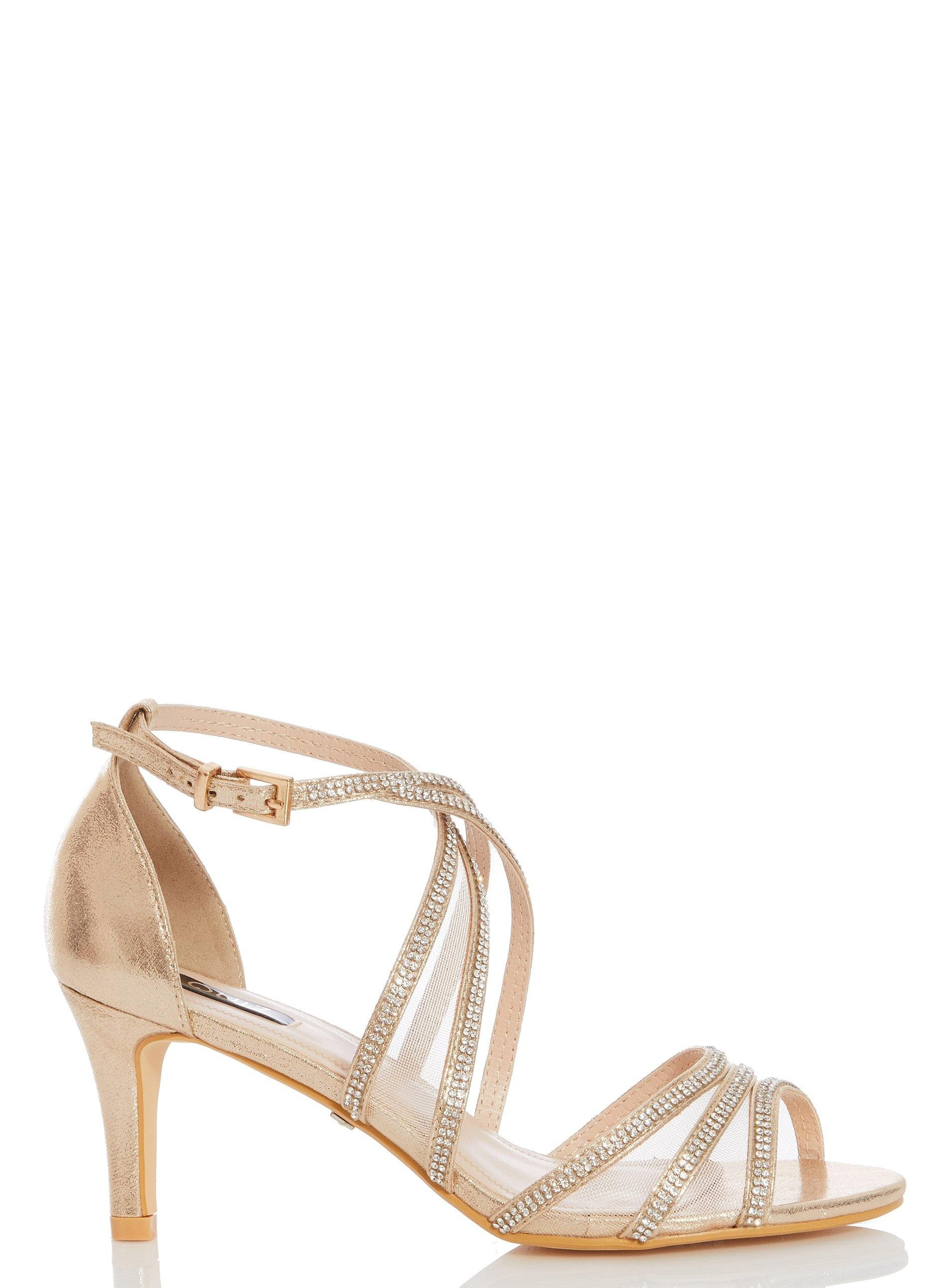 50888e2898d Dorothy Perkins Quiz Gold Diamante Mid Heel Sandals in Metallic - Lyst