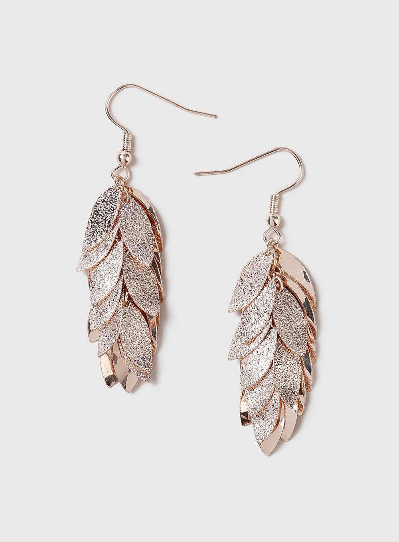 f3a9f9a47 Dorothy Perkins Rose Gold Sandblast Drop Earrings in Metallic - Lyst