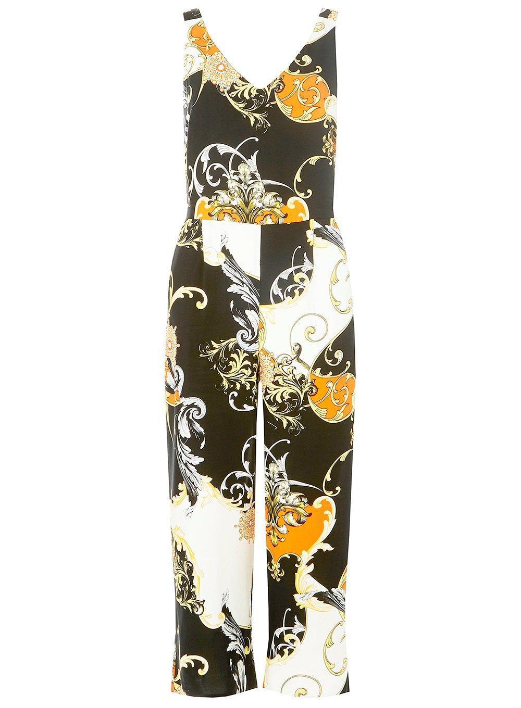 9fff37c0066 Lyst - Dorothy Perkins Black And Orange Chain Print Jumpsuit in Orange