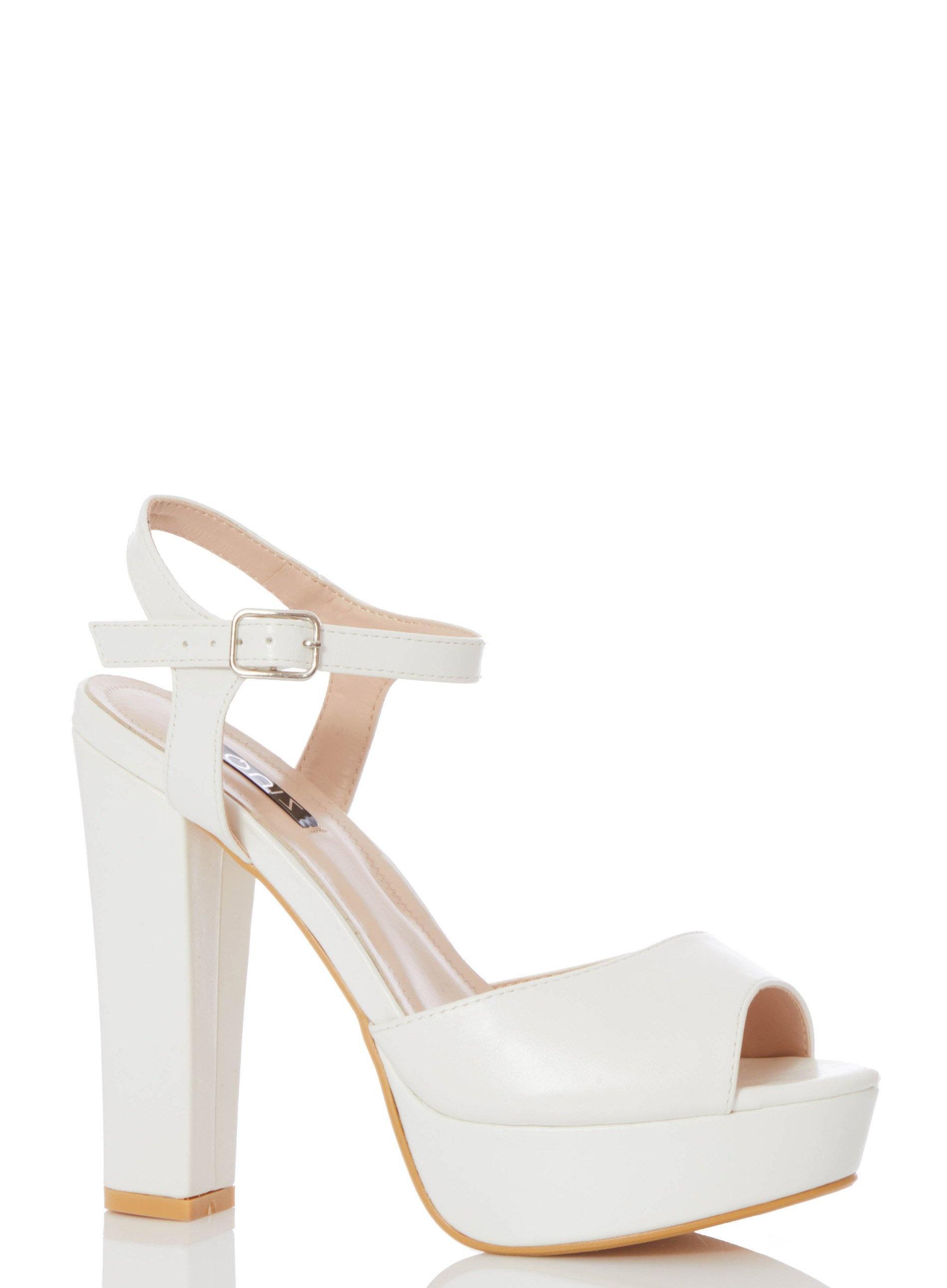 dcd673b5d Quiz - White Block Heel Sandals - Lyst. View fullscreen