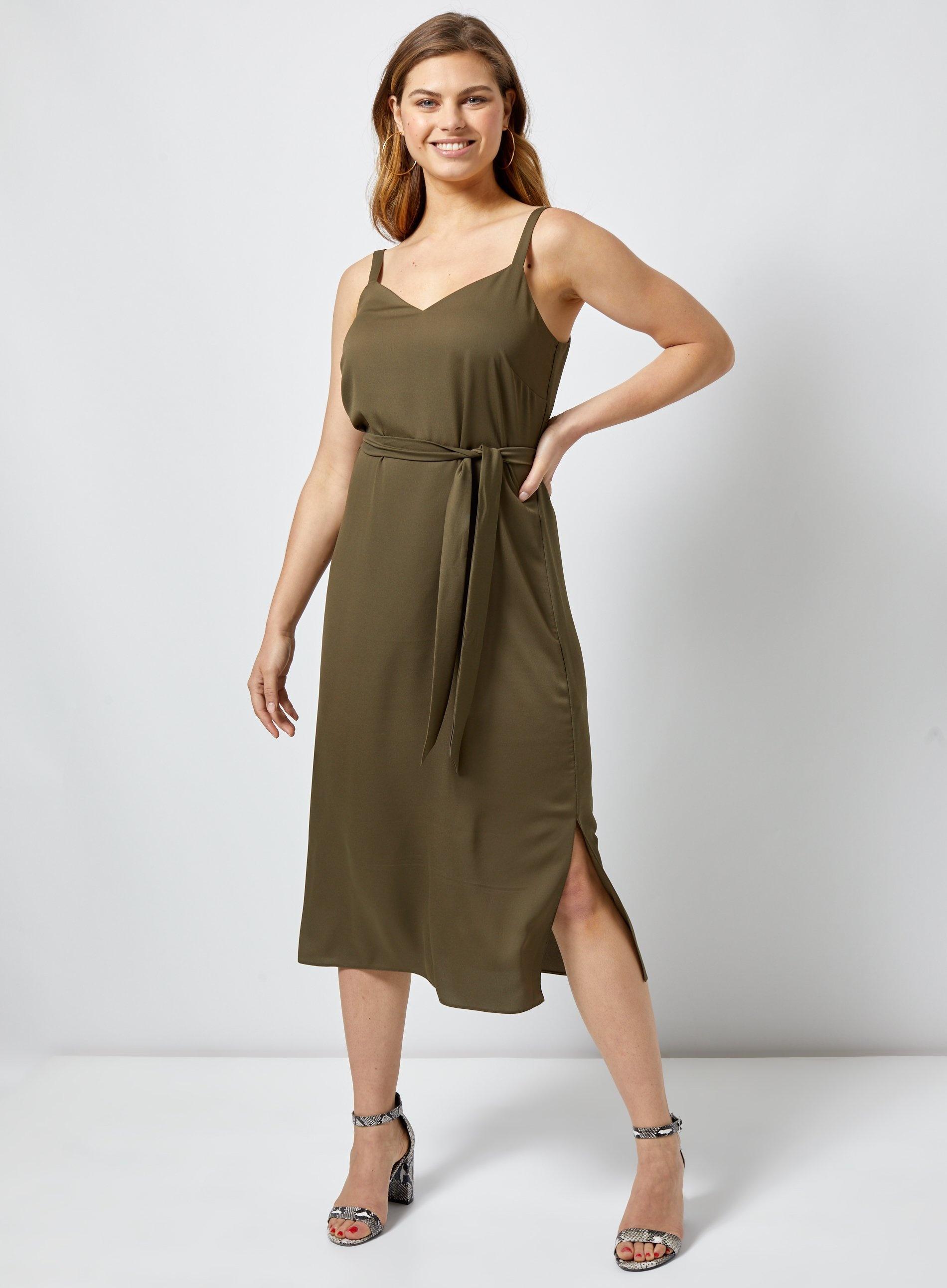 Dorothy Perkins Tall Khaki V-Neck Dress Robe Femme