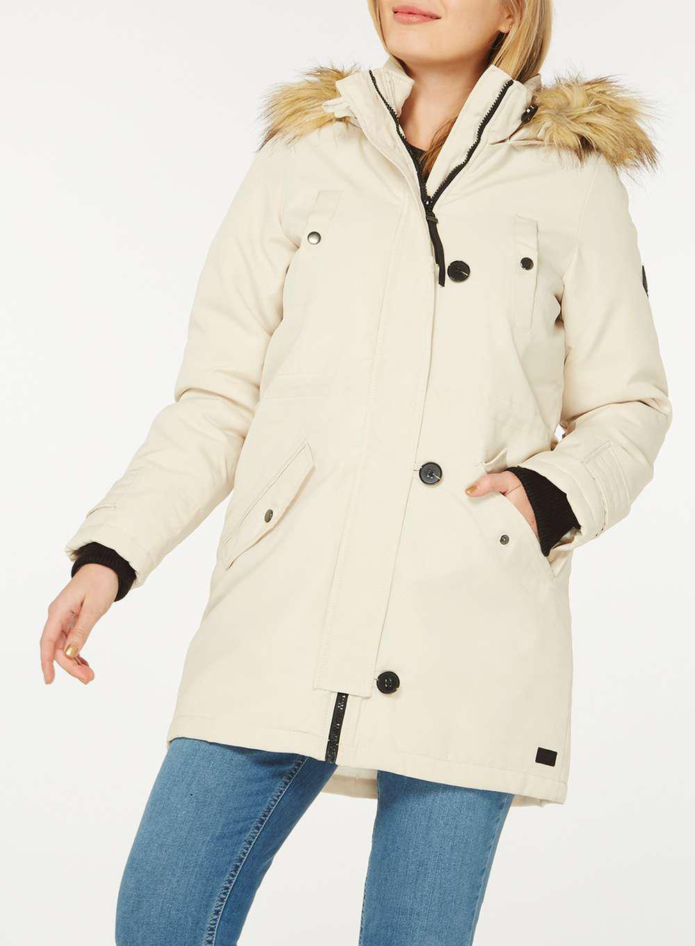Outlet New Arrival Dorothy Perkins Womens **Vero Moda Oatmeal Faux Fur Hood Parka Coat- Clearance Recommend Amazon Cheap Online Outlet Amazing Price Kouo20M
