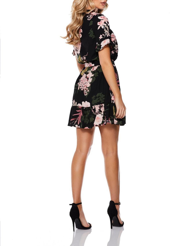 04bac9b4b8fb Lyst - Dorothy Perkins Quiz Black Floral Print Frill Skater Dress in ...