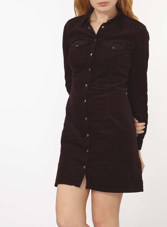 Dorothy Perkins Fig Cord Western Shirt Dress In Purple Lyst