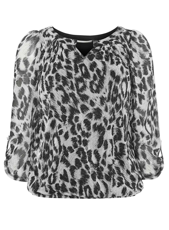50570493d9e8a Dorothy Perkins Billie   Blossom Grey Leopard Print Bubble Blouse in ...