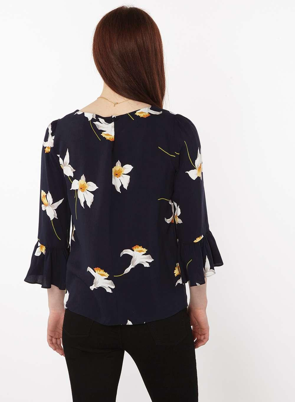 Dorothy Perkins Synthetic Petite Navy Daffodil Print Blouse in Blue