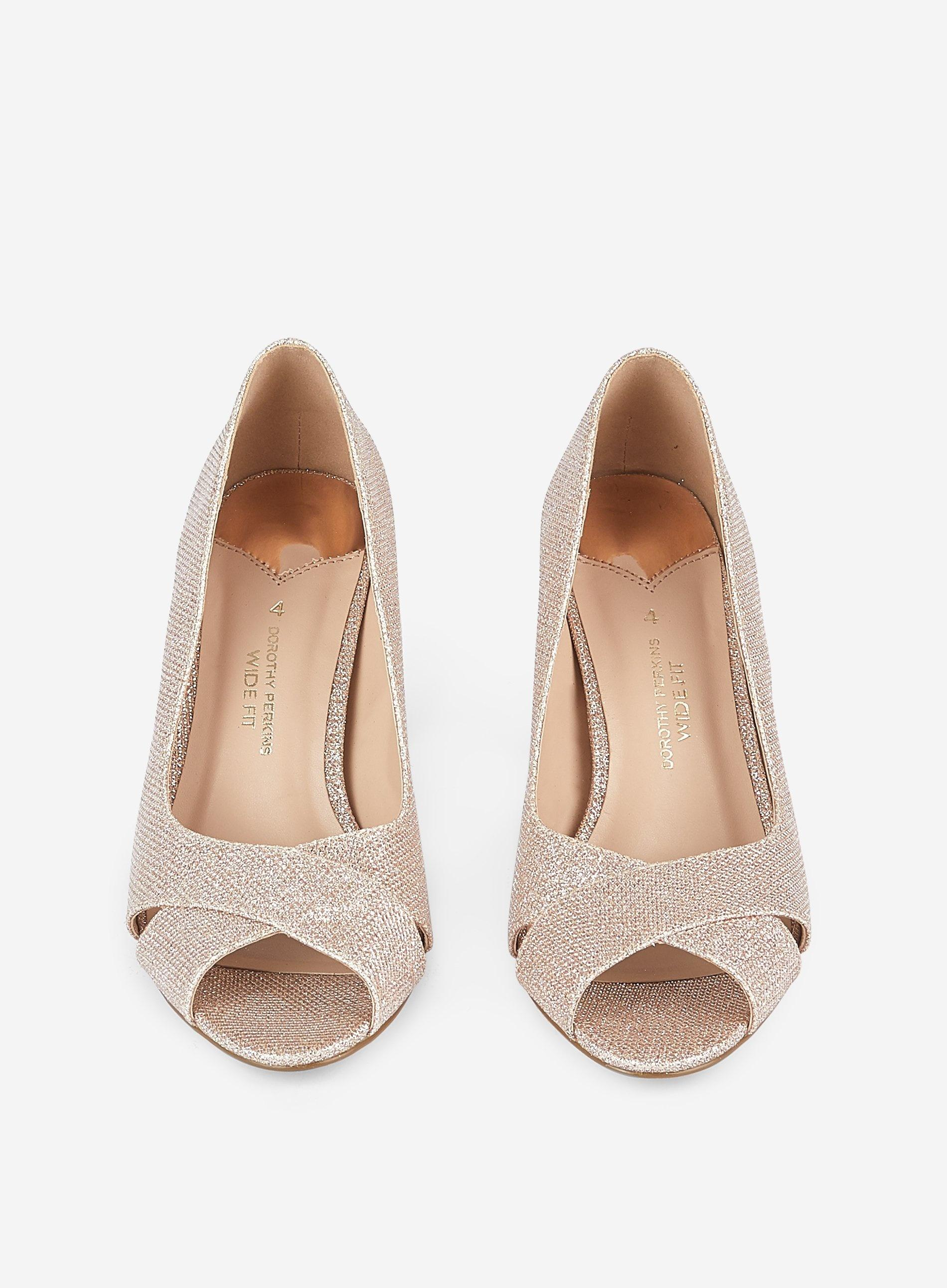 Wide Fit 'clover' Peeptoe Court Shoes
