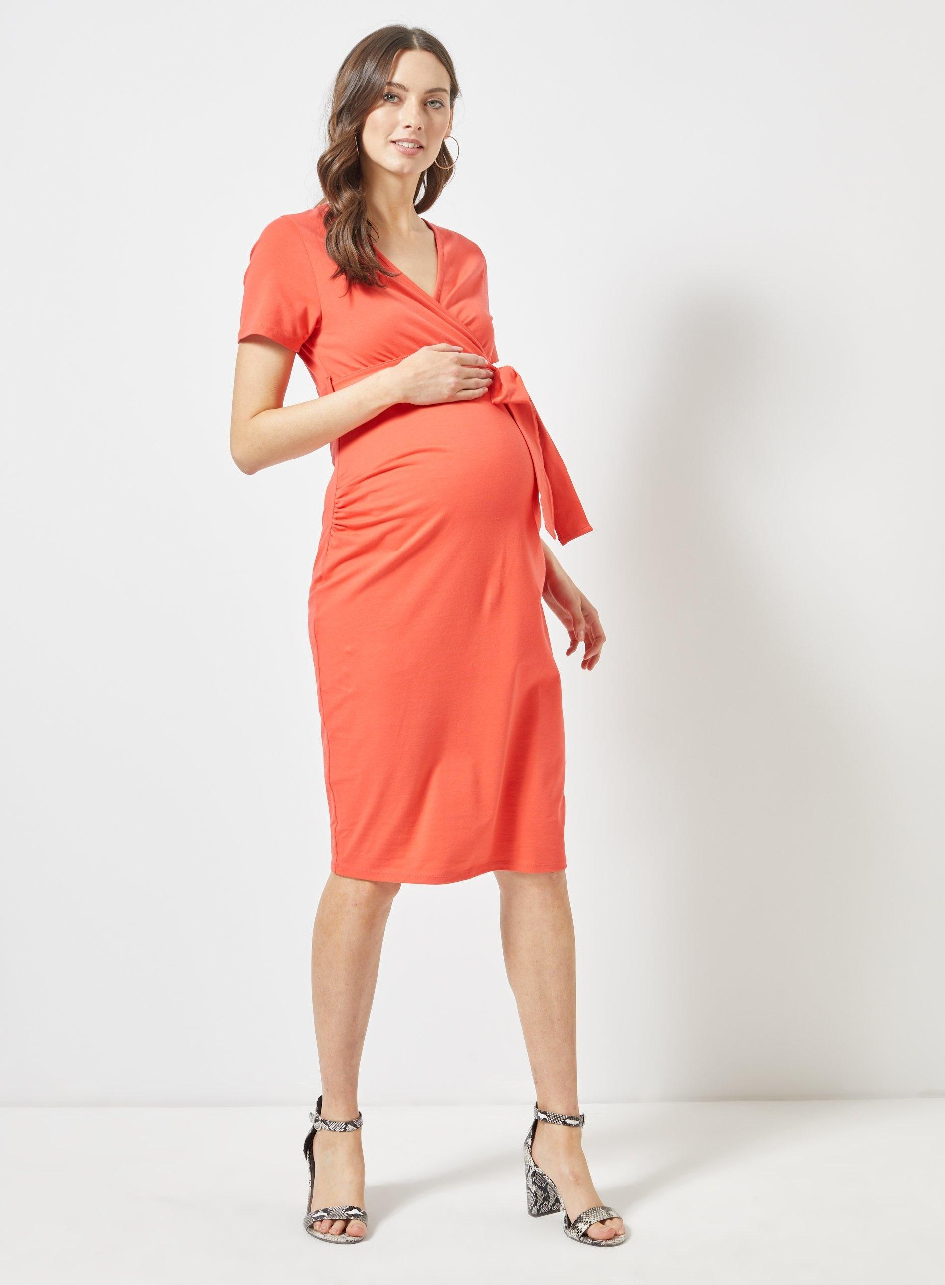 248114cbbb8f3 Dorothy Perkins - Multicolor Maternity Coral Short Sleeve Wrap Nursing Dress  - Lyst. View fullscreen