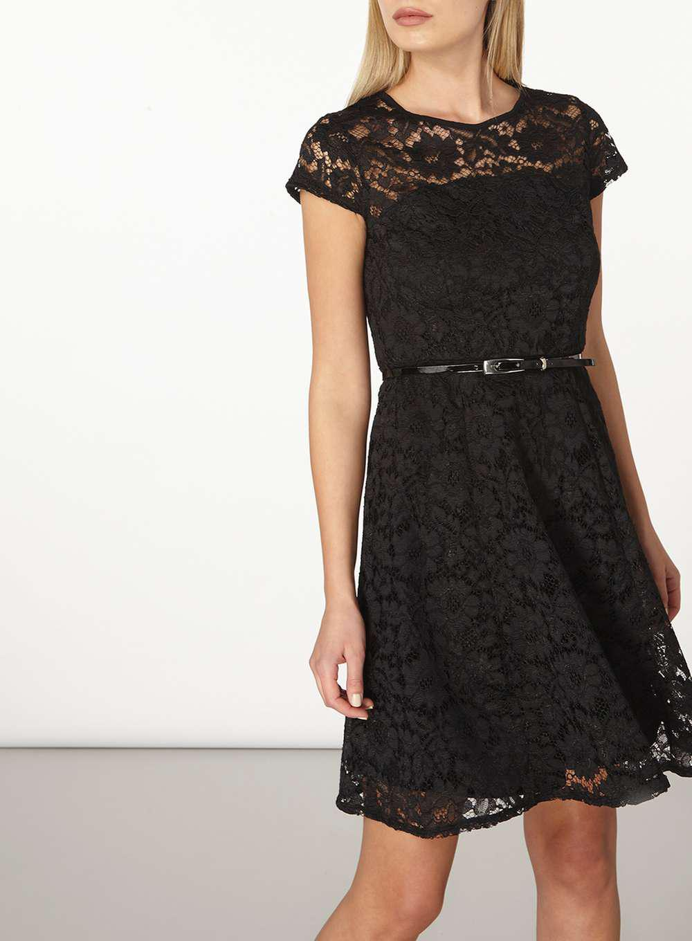 Womens Belted Lace Fit and Flare Dress Dorothy Perkins FztOj7t8u