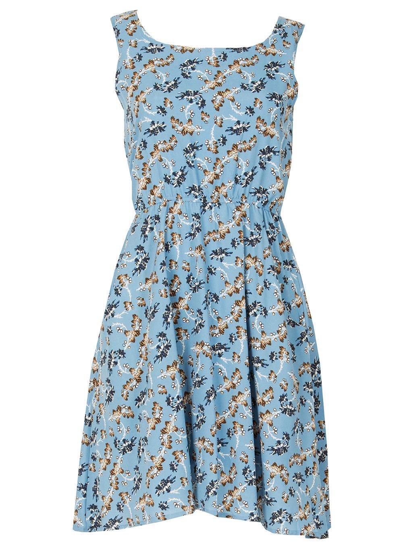 Dorothy Perkins Tenki Blue Floral Skater Dress in Blue - Lyst 56358fe96