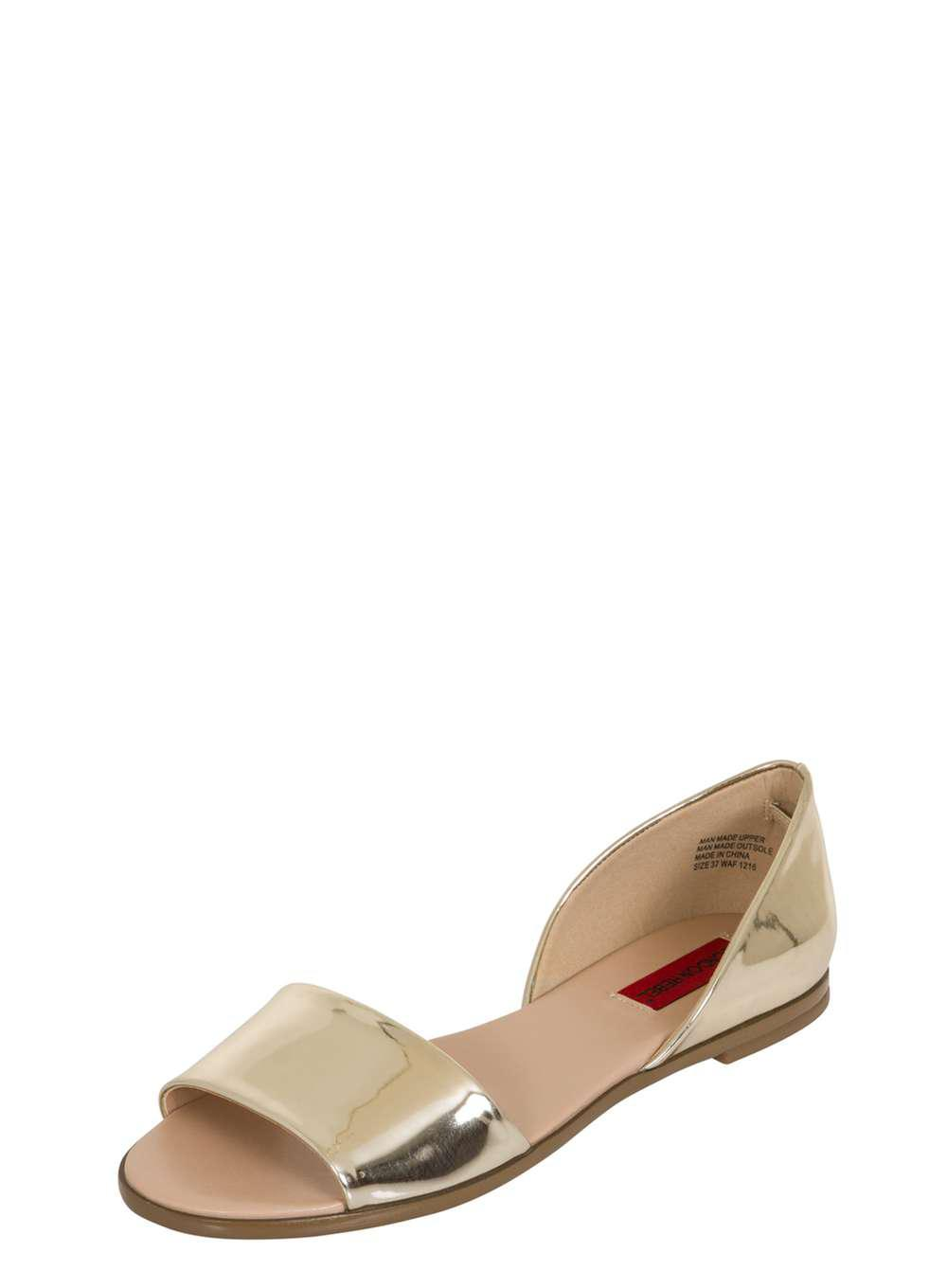 aed156a9f355af Dorothy Perkins - Metallic London Rebel Gold Flat Open Toe Sandals - Lyst