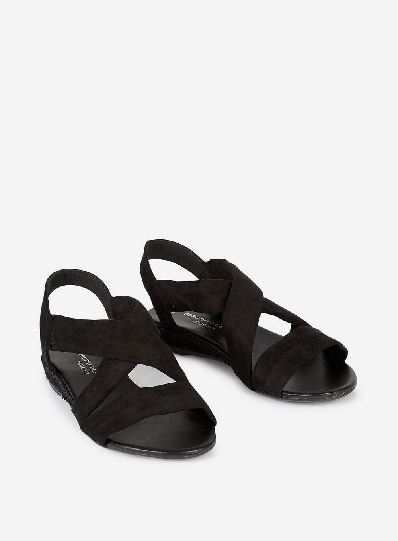 27ea8373dd Dorothy Perkins - Wide Fit Black Ream 'demi' Wedge Sandals - Lyst. View  fullscreen