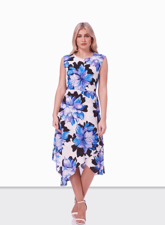 46f2c13cd54 Dorothy Perkins Roman Originals Ivory Floral Wrap Hem Fit And Flare ...