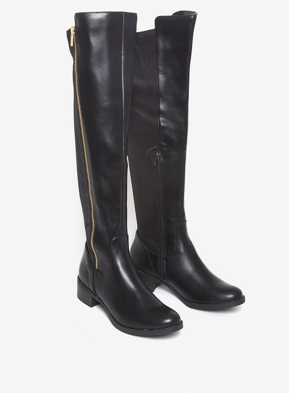 Dorothy Perkins Leather Black 'tally' Over Knee Boots