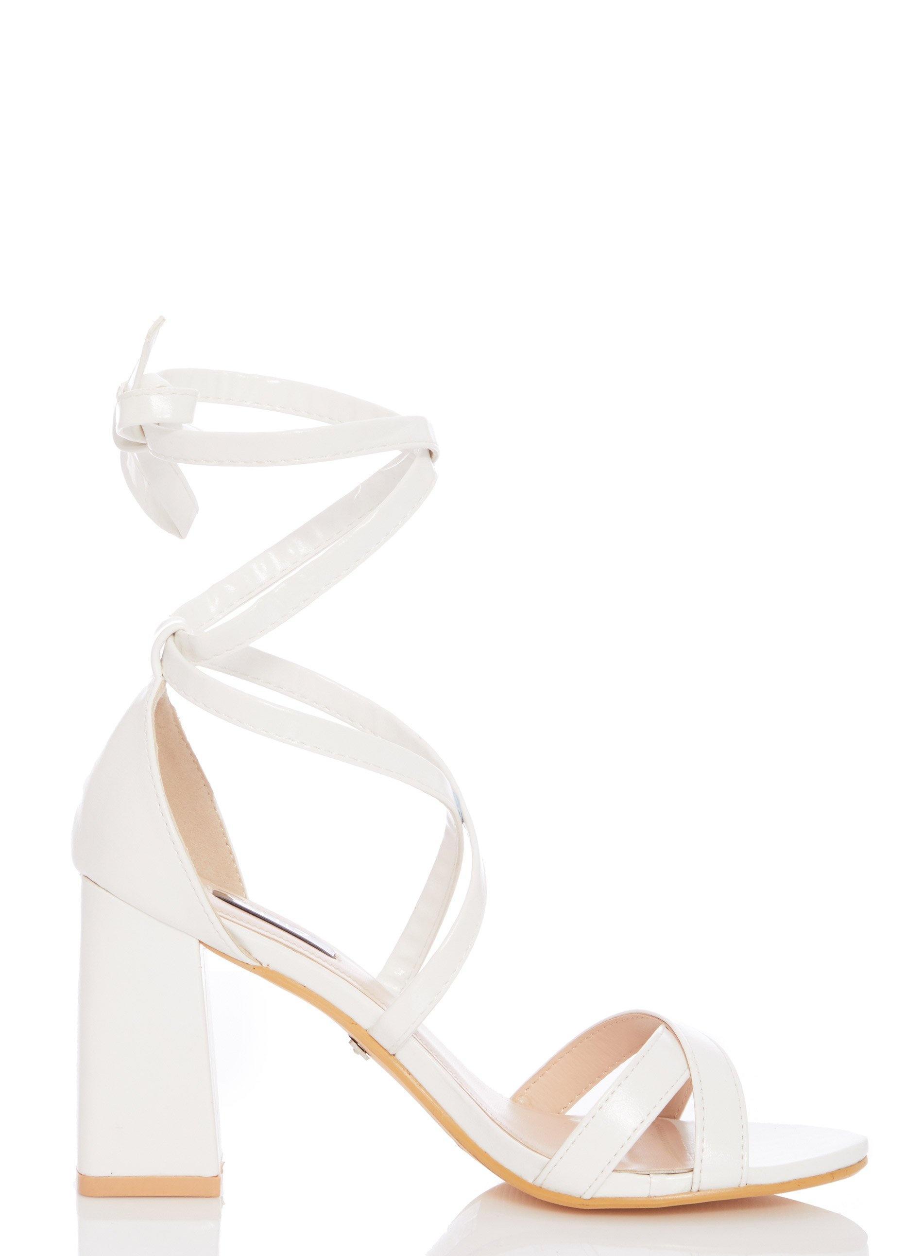 4b2db403b Quiz White Block Heel Sandals in White - Lyst