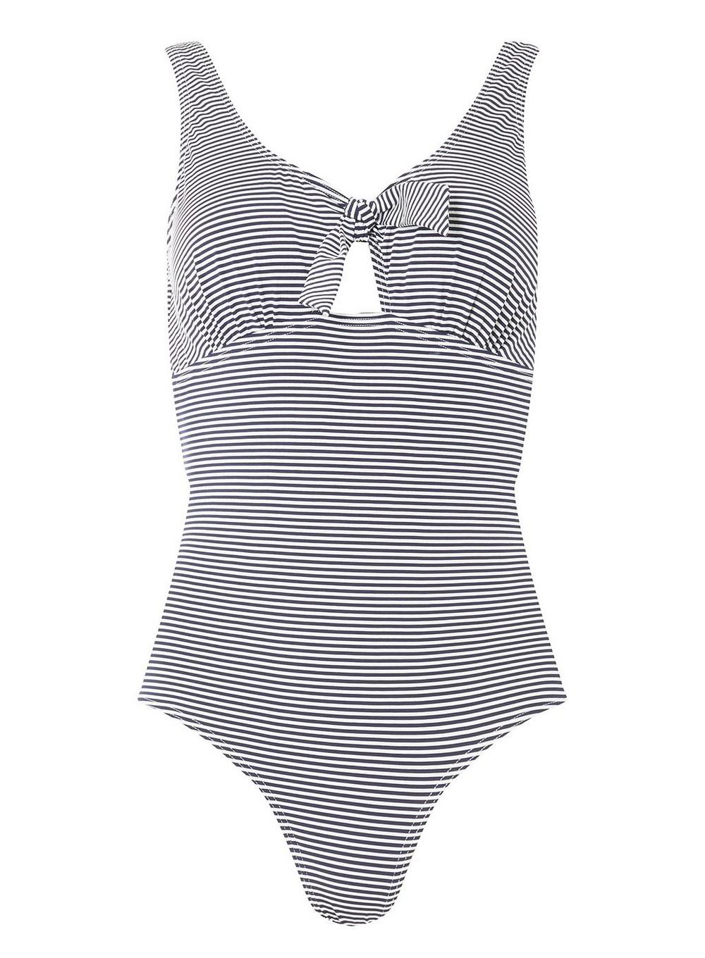 88b294098776c Lyst - Dorothy Perkins Dp Beach Navy And White Tie Front Swimsuit in ...