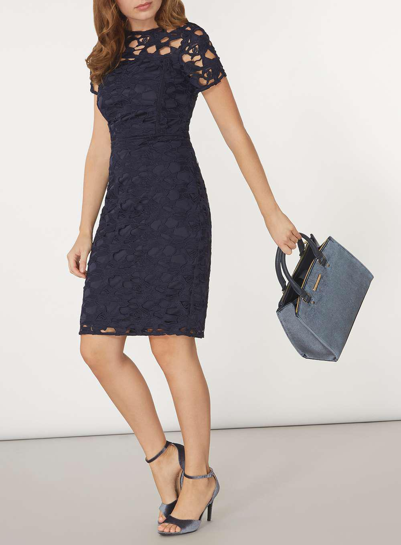 Dorothy Perkins Navy Velvet Pipe Tote Bag in Blue