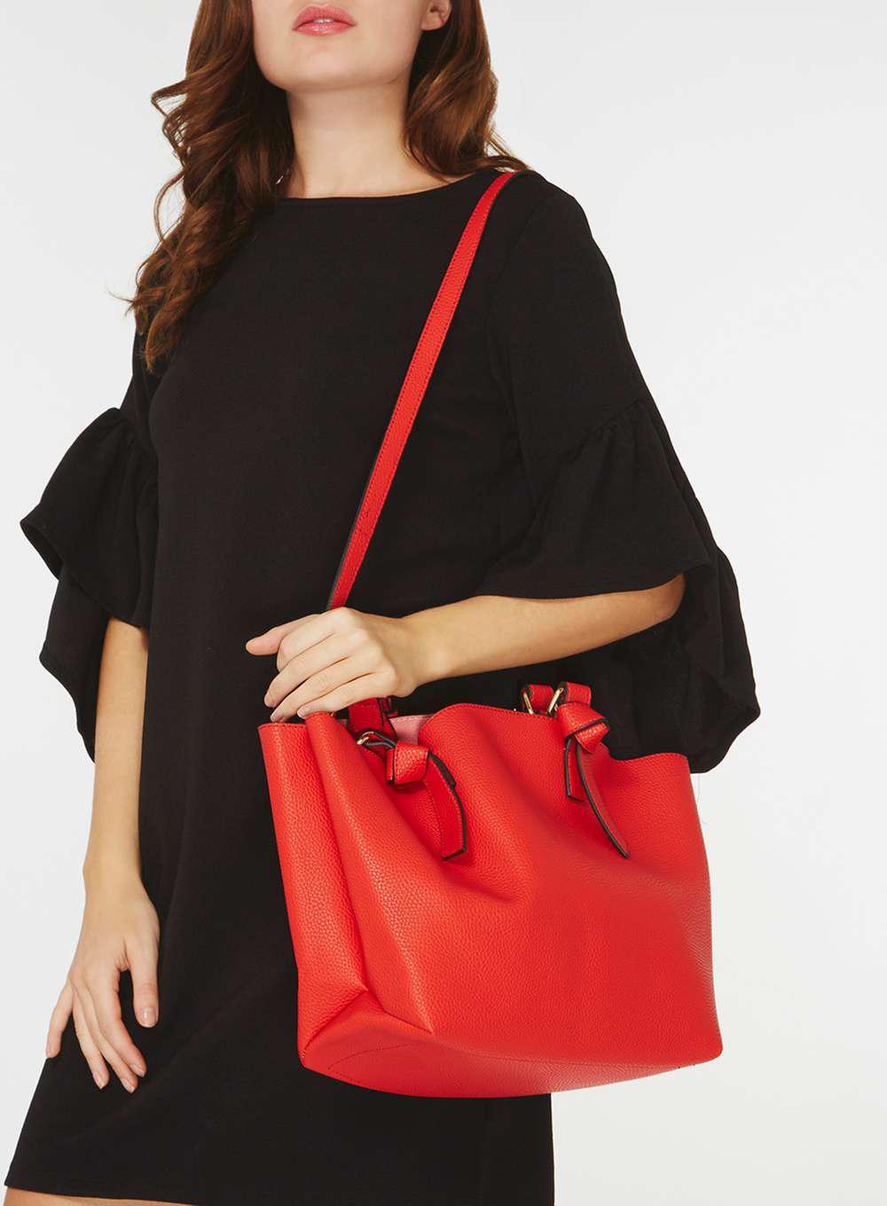 Dorothy Perkins Red Oversized Knot Handle Tote Bag