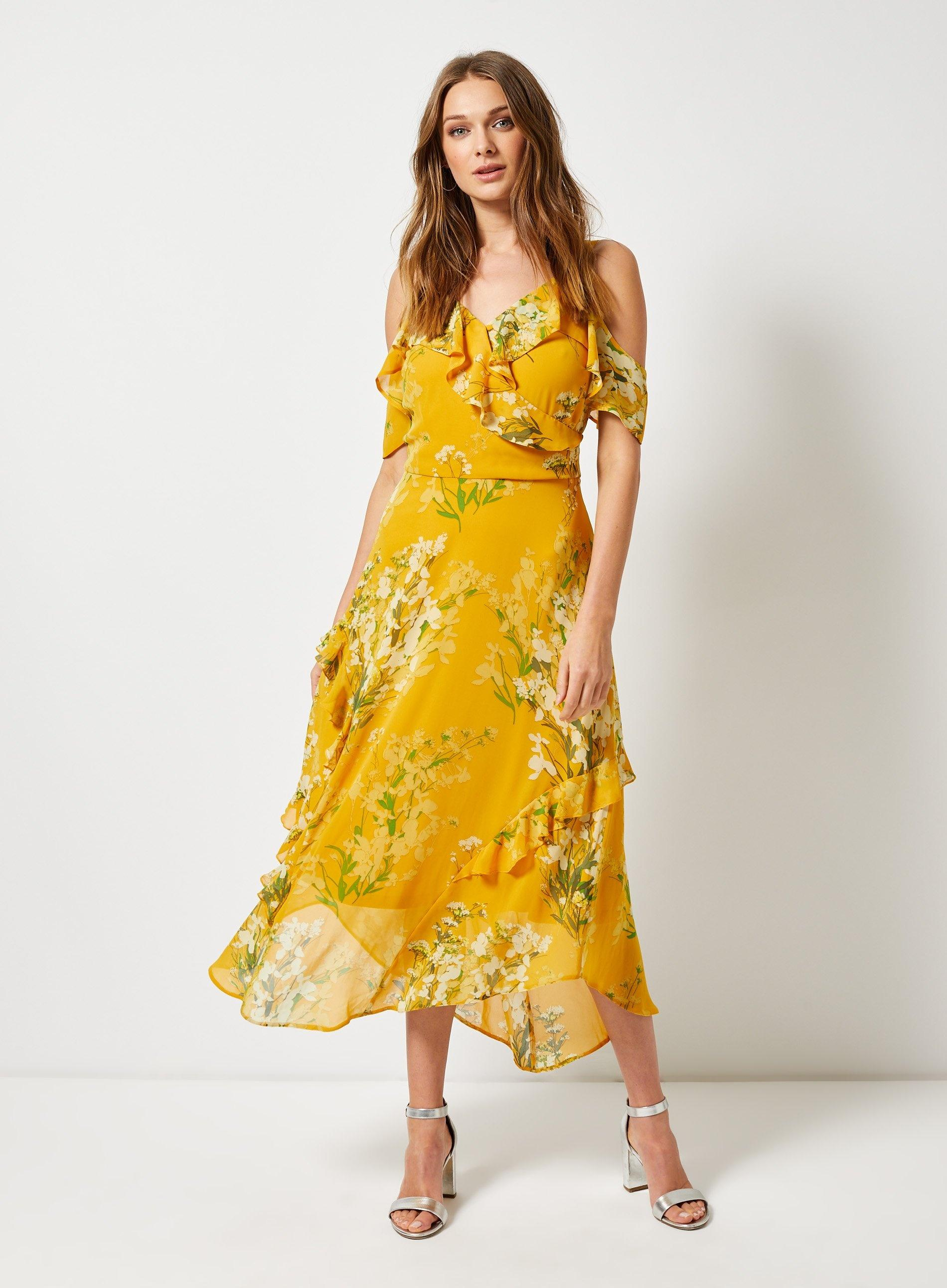 0c27812d0255 Dorothy Perkins - Yellow Cold Shoulder Printed Maxi Dress - Lyst. View  fullscreen