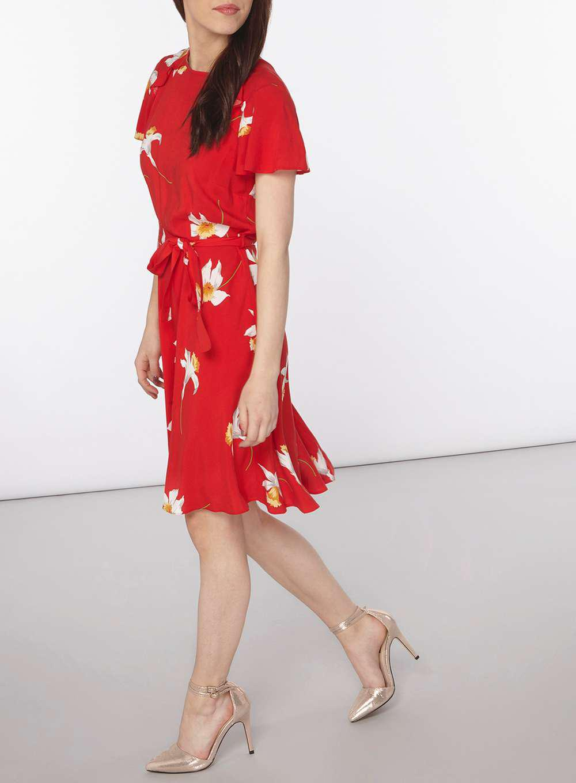 Red Floral Bardot Dress - Dresses - Clothing - Dorothy Perkins