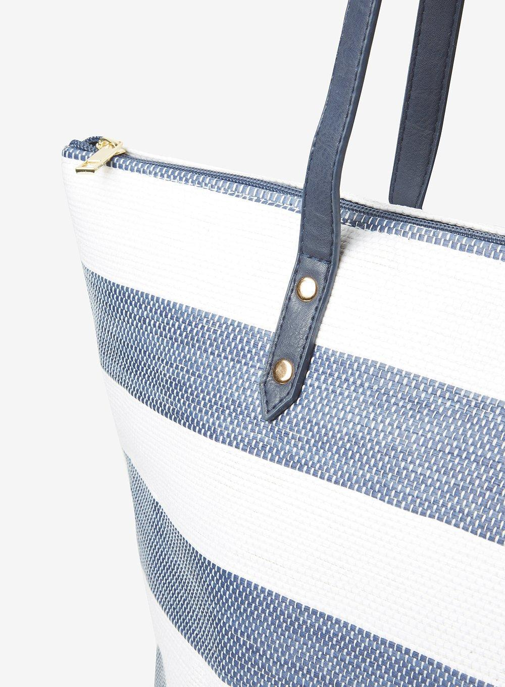 63d1aa07b0 Dorothy Perkins Navy And White Striped Beach Shopper Bag in Blue - Lyst