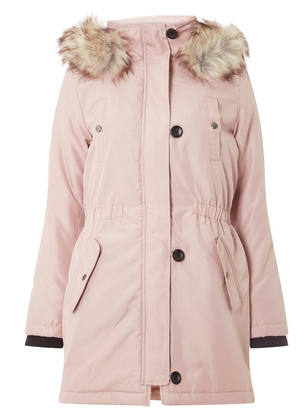 84d85a7b54c Lyst - Dorothy Perkins Only Pink Fur Hood Parka Coat in Pink