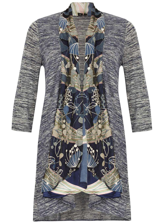 Dorothy perkins Izabel London Multi Navy Print Cardigan in Blue | Lyst