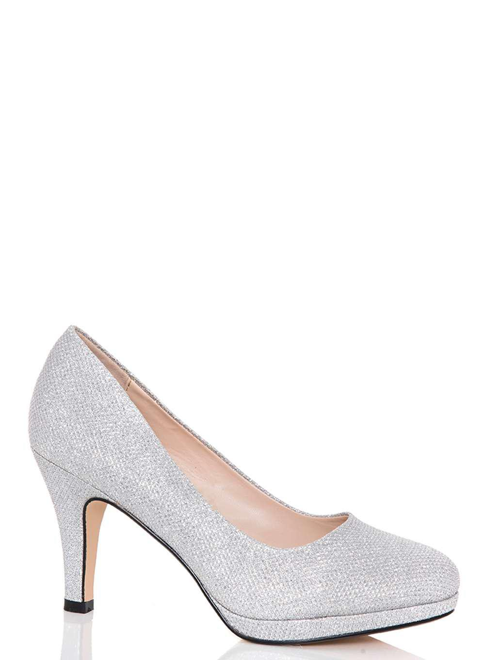 c7811cd49c0 Lyst - Dorothy Perkins Quiz Silver Glitter Mid Heel Court Shoes in ...