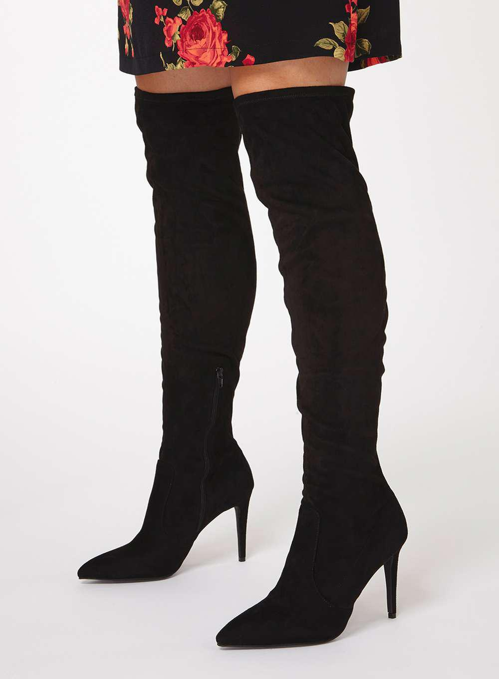Dorothy Perkins Black 'kimberly' Pointed Knee High Boots