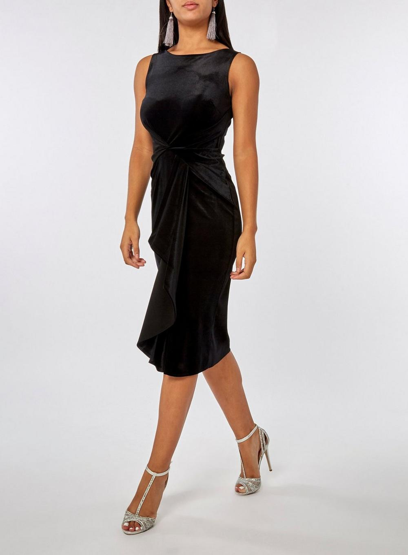 557314ffd15 Dorothy Perkins - Luxe Black Velour Frill Bodycon Dress - Lyst. View  fullscreen