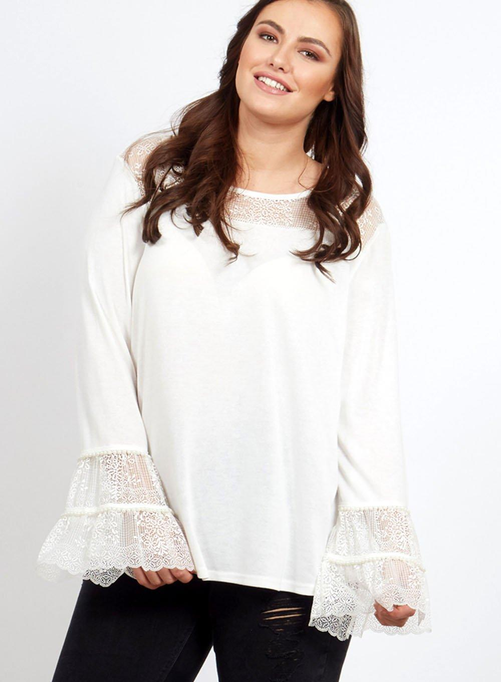 4412a585e45f Dorothy Perkins Blue Vanilla Curve White Lace And Pearl Tunic Top in ...