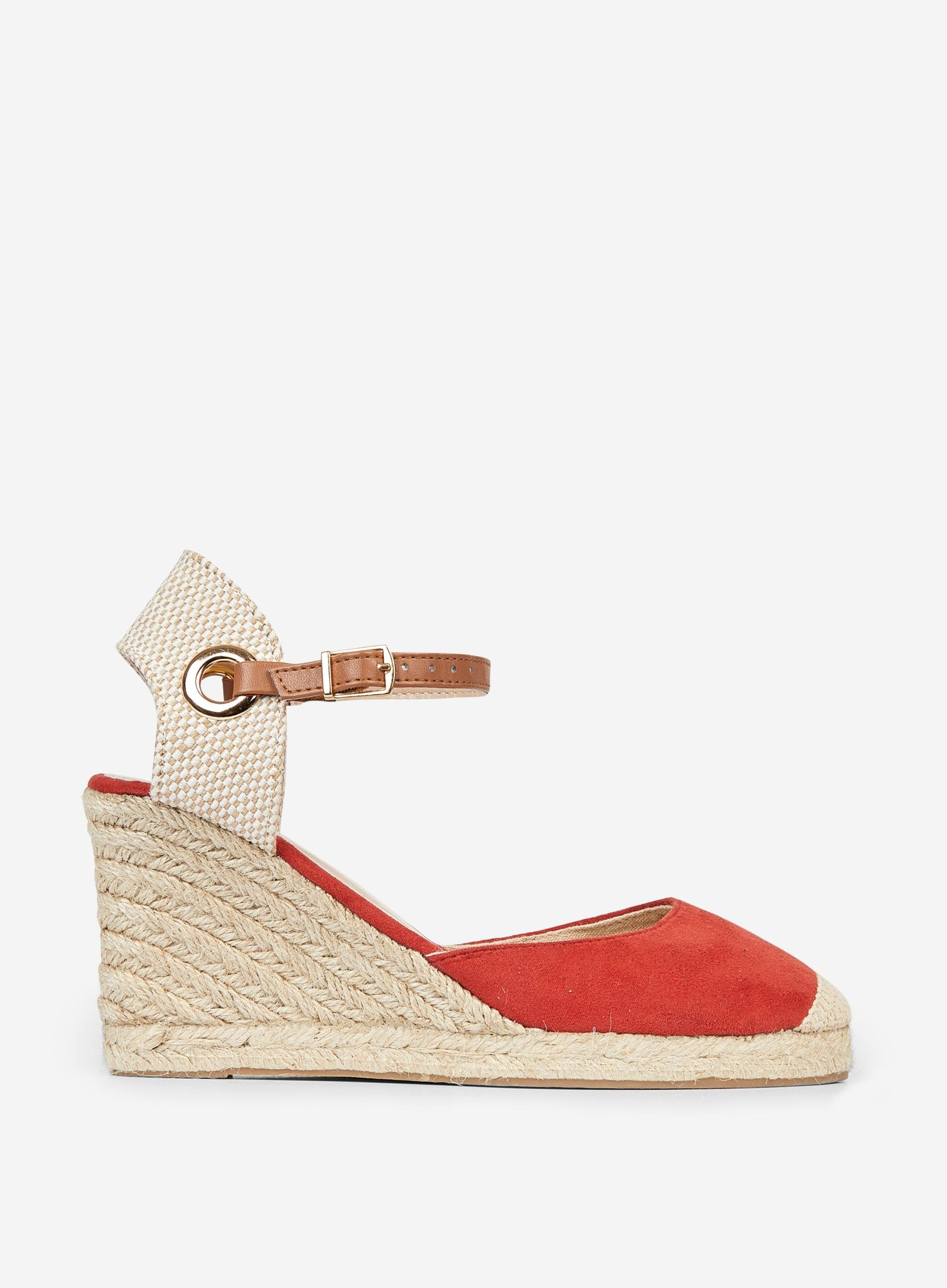 b87f0093e8 Lyst - Dorothy Perkins Wide Fit Red 'raya' Espadrille Wedges in Red