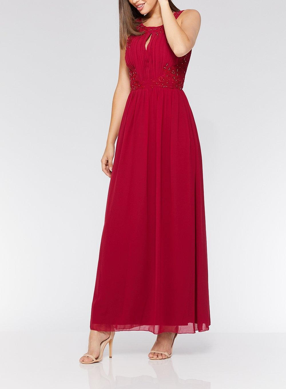 7f8f0849073 Dorothy Perkins Quiz Raspberry Embroidered High Neck Maxi Dress in ...
