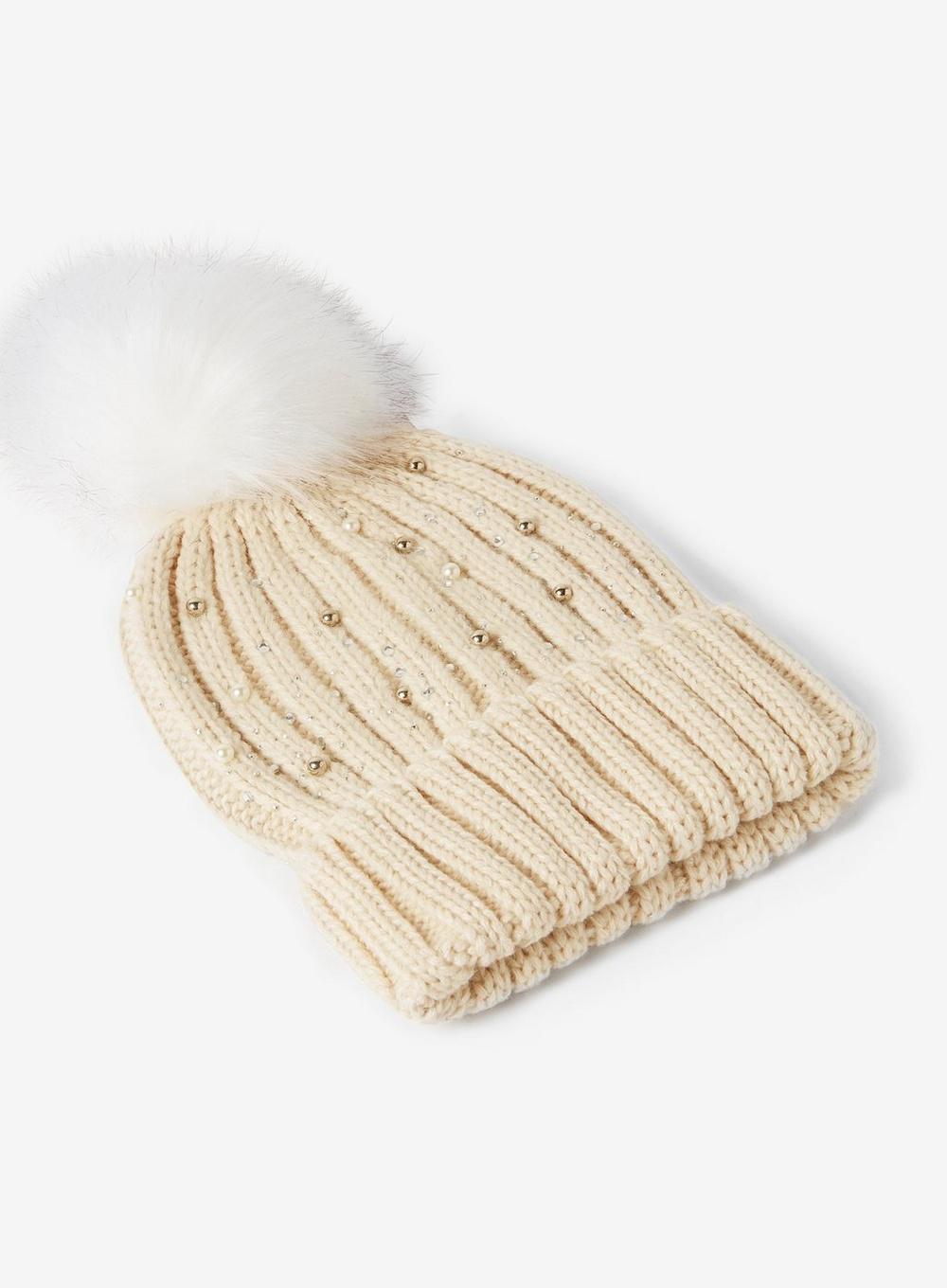 Lyst - Dorothy Perkins Cream Pearl Embellished Pom Pom Hat in Natural a5929fb023bf