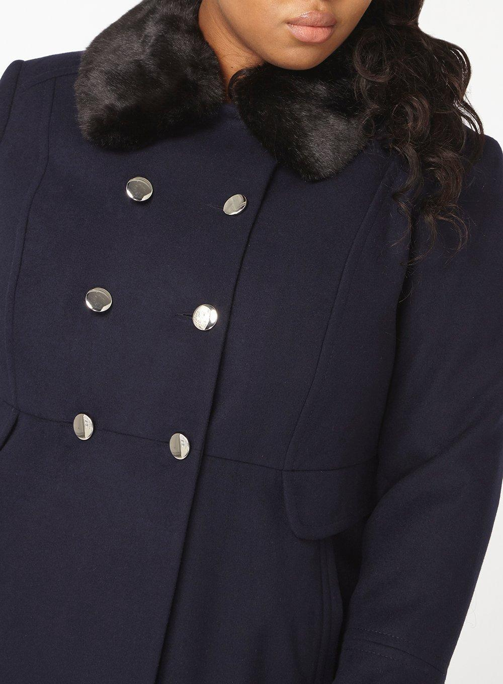 fc3fc038c8a Lyst - Dorothy Perkins Dp Curve Faux Fur Collar Dolly Coat in Blue