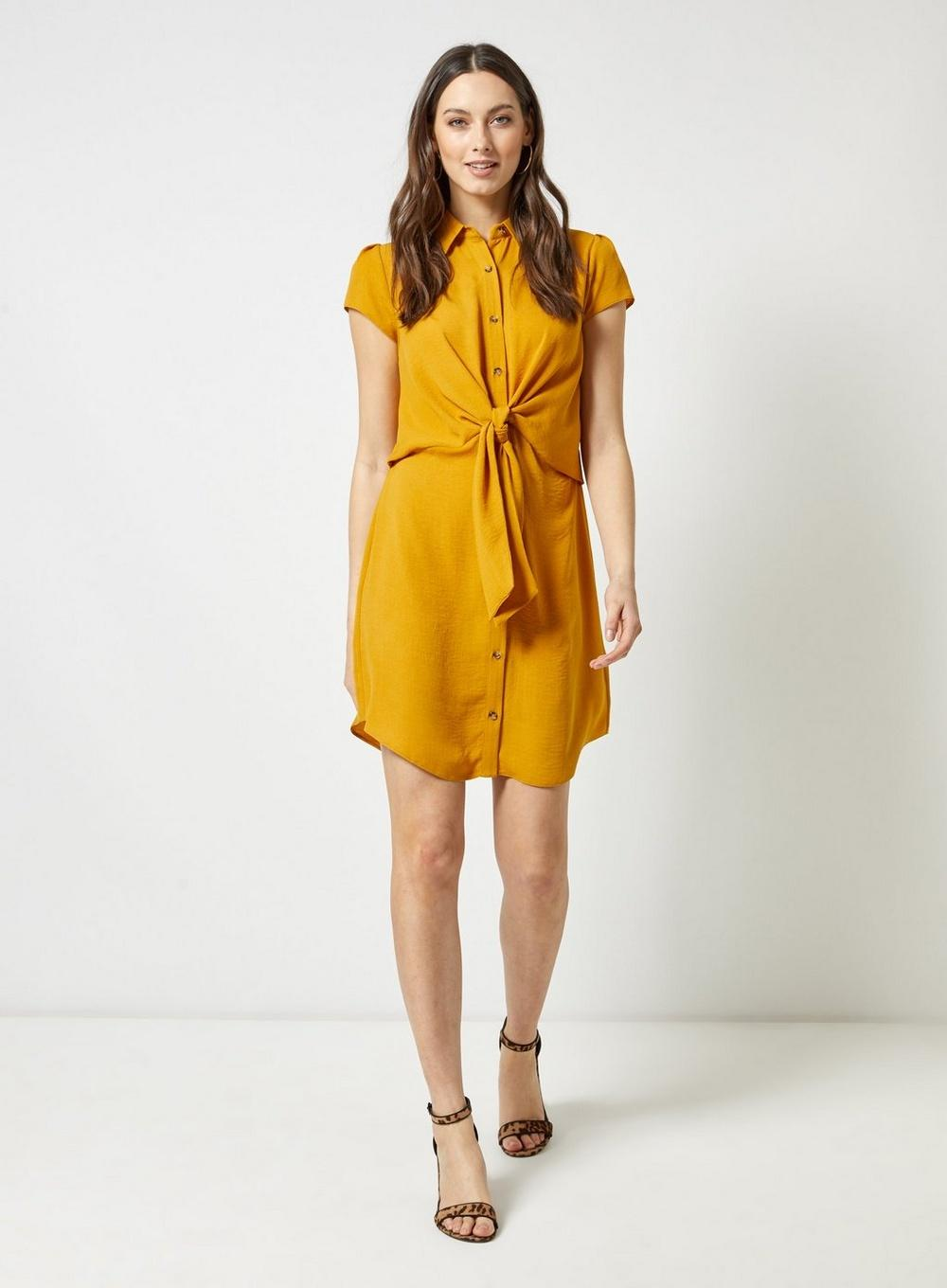 df54c90618 Lyst - Dorothy Perkins Yellow Tie Linen Shirt Dress in Orange