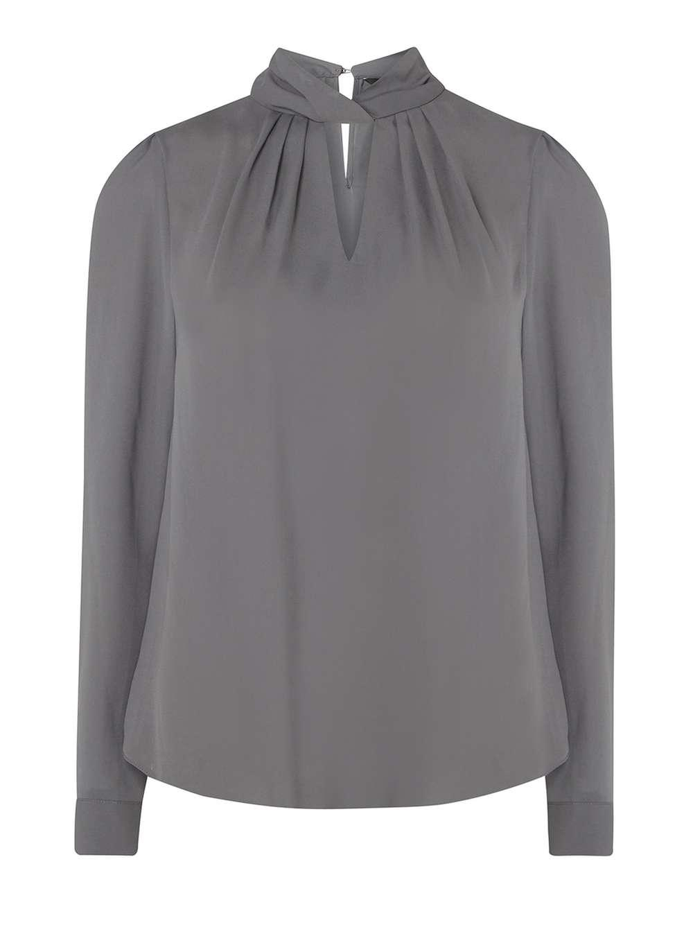Lyst Dorothy Perkins Charcoal Twist Neck Blouse In Gray