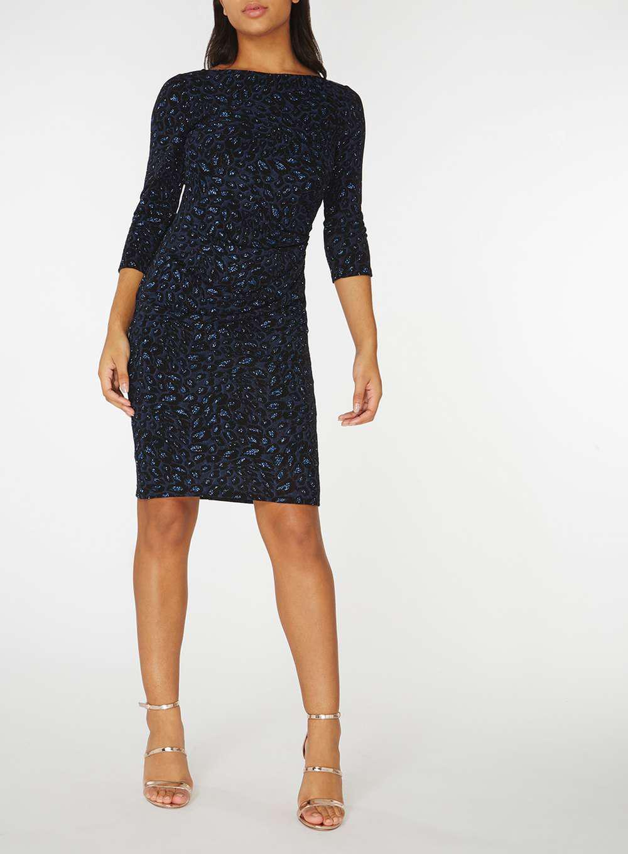 Dorothy perkins billie & blossom navy bloom print bodycon dress