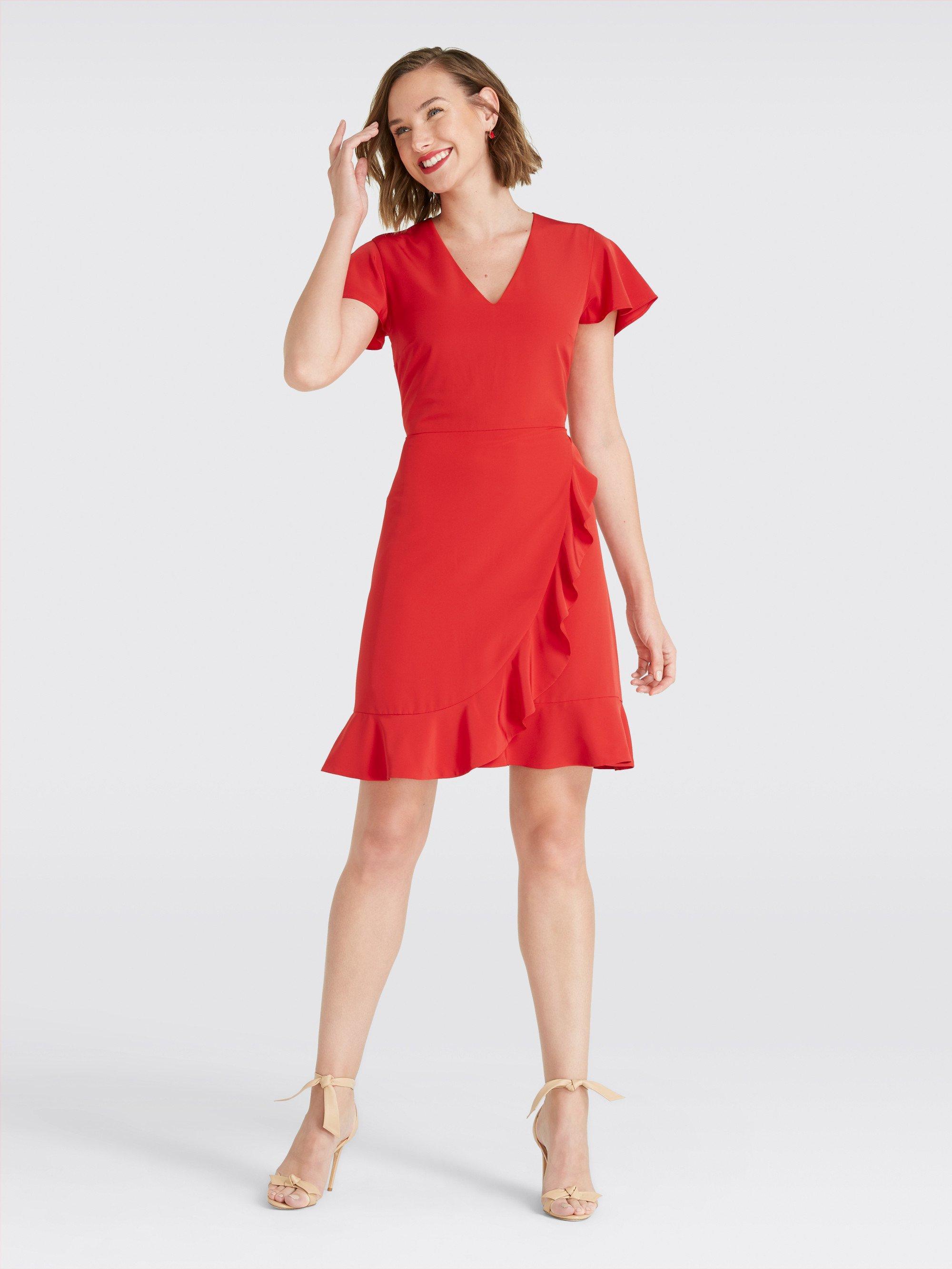 b7136b5544f Lyst - Draper James Solid Flutter Dress in Red - Save 19%
