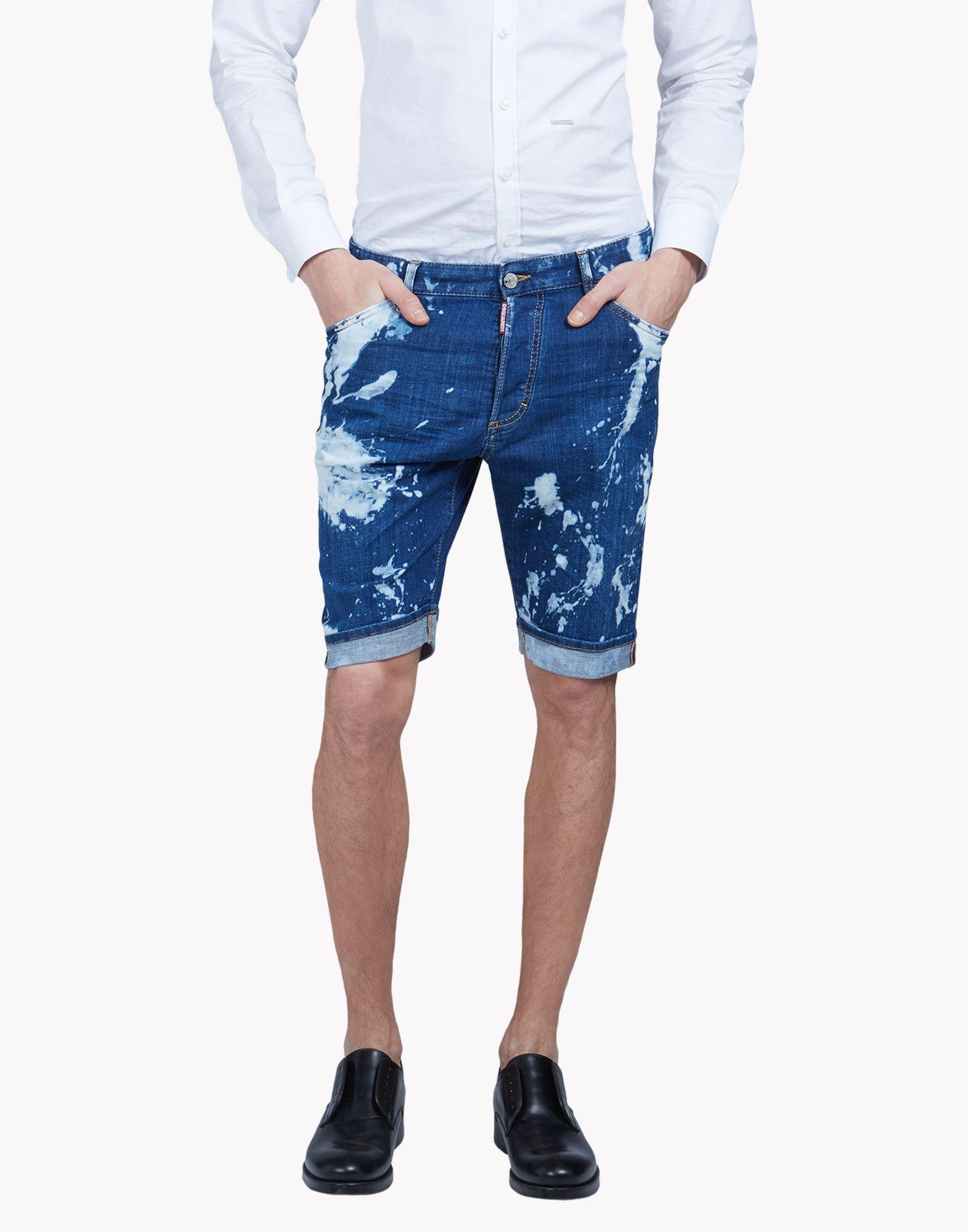 dsquared bleached denim shorts in blue for men lyst. Black Bedroom Furniture Sets. Home Design Ideas