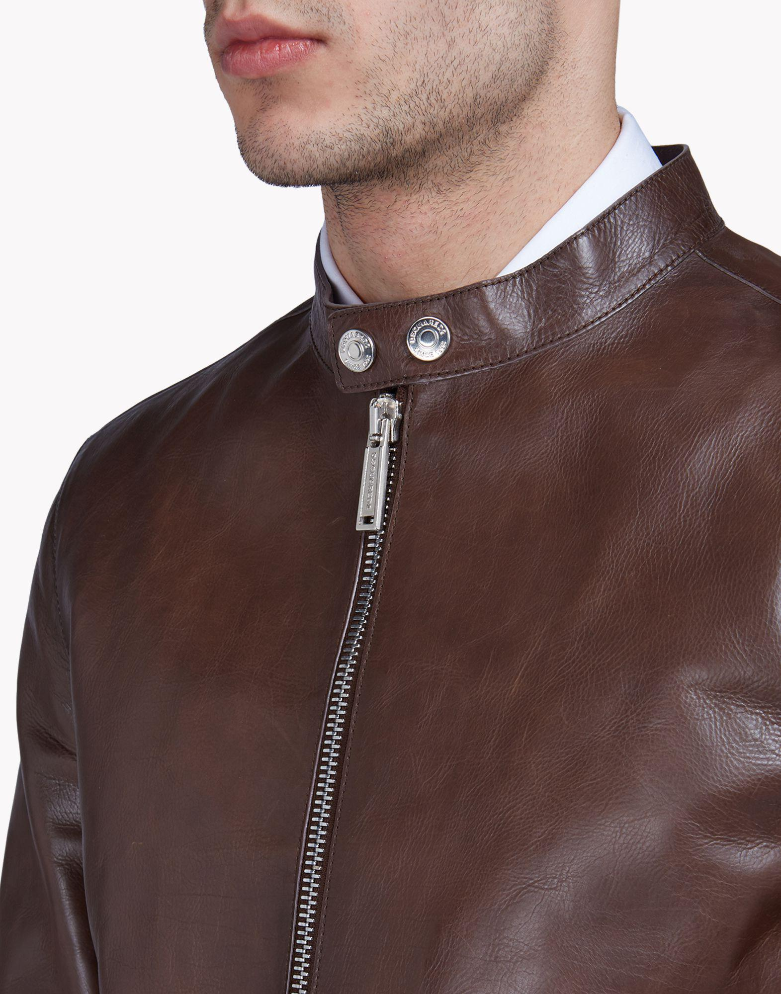 DSquared² Leather Jacket in Cocoa (Brown) for Men