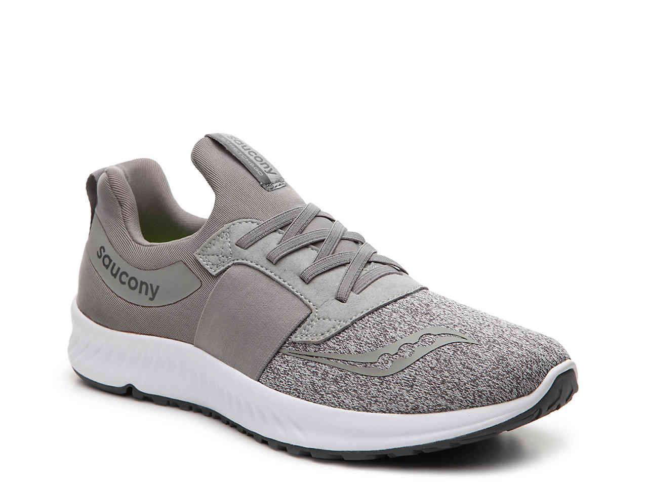 bd34f4b037 Saucony Gray Stretch & Go Breeze Lightweight Slip-on Running Shoe for men