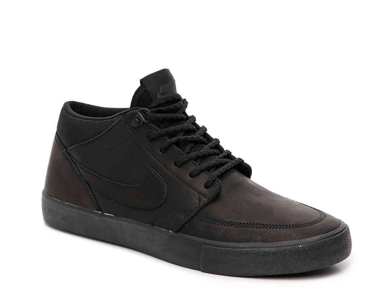 antenato unicamente Passivo  Nike Leather Sb Portmore Mid-top Sneaker in Black for Men - Lyst