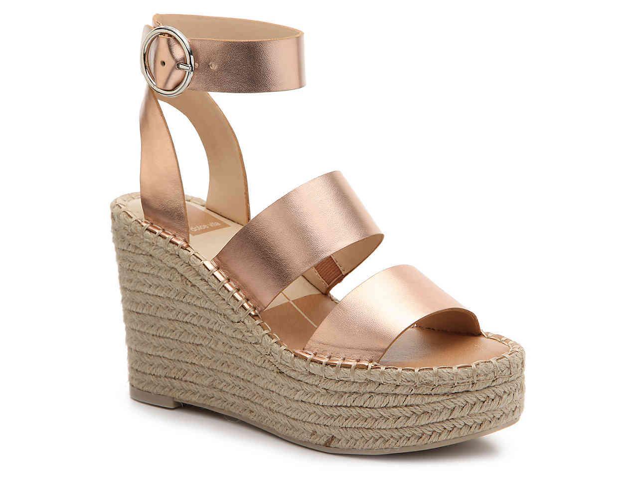 Shea Metallic Leather Cork Wedge Sandals SsAR0rT2H