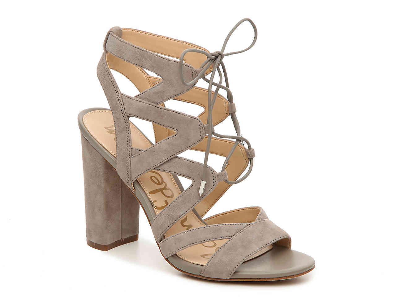 1234ec9a57b43d Lyst - Sam Edelman Yardley Lace-up Suede Block Heel Sandals