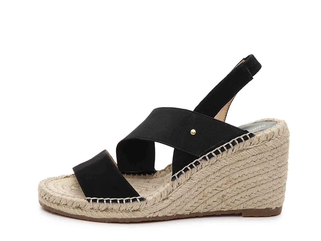 d391a7b5c82 Adrienne Vittadini Black Crete Espadrille Wedge Sandal